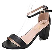 tanie Obuwie damskie-Damskie Obuwie PU Wiosna Comfort Sandały Block Heel Okrągły Toe Black / Silver / Brown / Sandały na obcasie