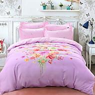 cheap Floral Duvet Covers-Duvet Cover Sets Floral 4 Piece Poly/Cotton 100% Cotton Jacquard Poly/Cotton 100% Cotton 1pc Duvet Cover 2pcs Shams 1pc Flat Sheet