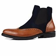 baratos Sapatos Masculinos-Homens Sapatos Confortáveis Pele Napa / Pele Outono / Inverno Botas Botas Curtas / Ankle Preto / Vinho / Khaki