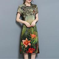 Dámské Větší velikosti Čínské vzory Volné Šaty - Květinový Midi Stojáček / Léto