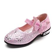 お買い得  フラワーガールシューズ-女の子 靴 レザーレット 春 コンフォートシューズ / フラワーガールシューズ ヒール ラインストーン / リボン / スパークリンググリッター のために シルバー / ブルー / ピンク