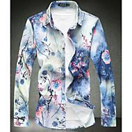 preiswerte -0.1-Herrn Blumen - Grundlegend Baumwolle Hemd, Stehkragen Schlank