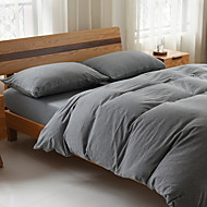 cheap Solid Duvet Covers-Duvet Cover Sets Solid 3 Piece Poly/Cotton Yarn Dyed Poly/Cotton 1pc Duvet Cover 1pc Sham 1pc Fitted Sheet