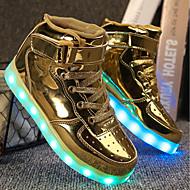 tanie Obuwie dziewczęce-Dla chłopców / Dla dziewczynek Obuwie PU Wiosna / Jesień Wygoda / Świecące buty Adidasy Spacery Sznurowane / Haczyk i pętelka / LED na Złoty / Srebrny / Różowy