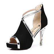 Mulheres Sapatos Courino Primavera Verão Botas da Moda Inovador Conforto Sandálias Salto Agulha para Festas & Noite Preto Amarelo