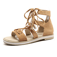 Mujer Zapatos Cuero Nobuck Verano Confort Sandalias Tacón Plano Puntera abierta Borla Amarillo / Azul / Rosa 2LOghGf0