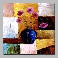 billiga Stilleben-Hang målad oljemålning HANDMÅLAD - Stilleben Blommig / Botanisk Klassisk Duk