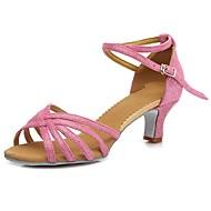 baratos Sapatilhas de Dança-Mulheres Sapatos de Dança Latina Couro Envernizado / Camursa Sintética Sandália / Salto Presilha Salto Robusto Personalizável Sapatos de