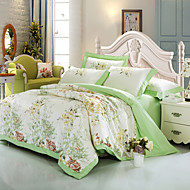 cheap Floral Duvet Covers-Duvet Cover Sets Floral Luxury 4 Piece 100% Cotton Cotton Jacquard Jacquard 100% Cotton Cotton Jacquard 1pc Duvet Cover 2pcs Shams 1pc