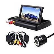 baratos Câmeras de Ré para Carros-ZIQIAO 4.3 Polegadas Outro CCD Sem Fio 170 Graus Kit de visão traseira do carro Dobrável Impermeável para Carro