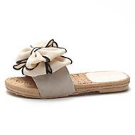 Mujer Zapatos PU Verano Confort Zapatillas y flip-flops Paseo Tacón Plano Dedo redondo Flor Negro / Amarillo / Rosa stNDSd