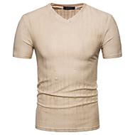 T-shirt Męskie Moda miejska Bawełna Sport W serek Szczupła - Solidne kolory Biały L / Krótki rękaw / Lato