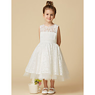 A-Line Tea Length Flower Girl Dress - Lace / Tulle Sleeveless Jewel Neck with Lace by LAN TING BRIDE®