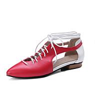 abordables Chaussures Plates pour Femme-Femme Similicuir Printemps / Eté Confort / Gladiateur Ballerines Talon Plat Bout pointu Beige / Rouge / Rose / Bloc de Couleur
