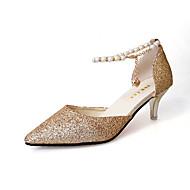 baratos Sapatos Femininos-Mulheres Sapatos Gliter Primavera Verão Plataforma Básica Sandálias Salto Sabrina Dedo Apontado Pérolas Dourado / Preto / Prateado