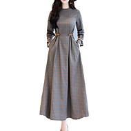 女性用 ストリートファッション スウィング ドレス - プリント, チェック マキシ