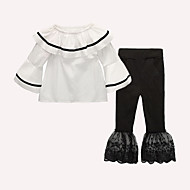 Girls' Going out Holiday Solid Colored Clothing Set, Cotton Acrylic Spring Summer Long Sleeves Cute Active White Black Red