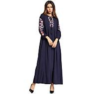 女性用 ベーシック ボヘミアン シース アバヤ ドレス - 刺繍, ソリッド マキシ