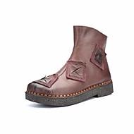 Mujer Zapatos Aterciopelado / Cuero Patentado Otoño / Invierno Botas de Moda Botas Tacón Stiletto Dedo redondo Hasta la Rodilla Negro / Marrón bsNLDr0