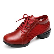 baratos Sapatilhas de Dança-Mulheres Tênis de Dança / Sapatos de Dança Moderna Couro de Gado / Tule Têni Sem Salto Personalizável Sapatos de Dança Branco / Preto /