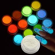 זול אומנות ציפורניים-12bottle/set גליטר ופודר / קישוטים אחרים גליטרים / קלסי / חתונה חמוד יומי / זוהר בחושך / מנצנץ