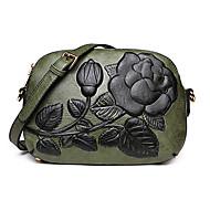 baratos Bolsas de Ombro-Mulheres Bolsas PU Leather Bolsa de Ombro Com Relevo Verde / Vermelho / Marron