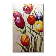 billiga Blom-/växtmålningar-Hang målad oljemålning HANDMÅLAD - Abstrakt Blommig / Botanisk Samtida Moderna Duk