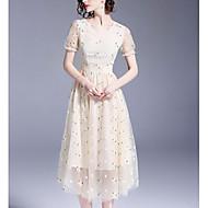 Žene Vintage Puff rukav Shift Haljina - Drapirano, Jednobojni Do koljena