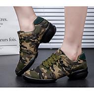 billige Dansesneakers-Dame Dansesko Moderne Lerret Høye hæler utendørs Trening Lav hæl Militærgrønn Kan spesialtilpasses