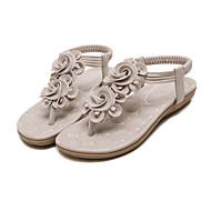 baratos Sapatos Femininos-Mulheres Sapatos Couro Ecológico Primavera / Verão Conforto / Inovador Sandálias Sem Salto Ponteira Preto / Amêndoa