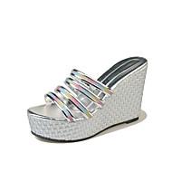 cheap -Women's PU(Polyurethane) Summer Comfort Slippers & Flip-Flops Wedge Heel Round Toe Gold / Black / Silver