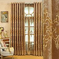 baratos Cortinas Transparentes-Sheer Curtains Shades Sala de Estar Floral Algodão / Poliéster Bordado
