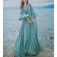 Žene Vintage Ležerne prilike Swing kroj Haljina Jednobojni Duboki V Maxi / Širok kroj