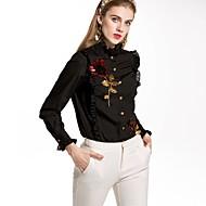 Dame - Ensfarvet Blomstret Basale Skjorte
