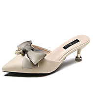 ieftine Saboți de Damă-Pentru femei Pantofi PU Vară Confortabili Saboți Toc Stilat Vârf rotund Funde Negru / Bej