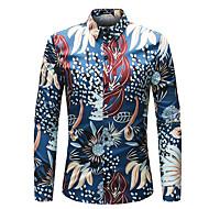Pánské - Květinový Šik ven Větší velikosti Košile, Tisk Štíhlý Námořnická modř XXL / Dlouhý rukáv