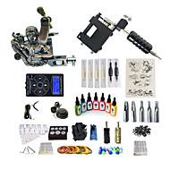 billige Tatoveringssett for nybegynnere-BaseKey Tattoo Machine Startkit - 1 pcs tattoo maskiner med 7 x 15 ml tatovering blekk, profesjonelt nivå, Profesjonell Legering LCD strømforsyning No case 20 W 1 x roterende tatoveringsmaskin til