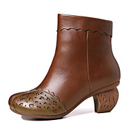 tanie Obuwie damskie-Damskie Obuwie Skórzany Nappa Leather Jesień Zima Modne obuwie Comfort Buciki Gruby obcas Kozaczki / kozaki do kostki na Casual Brown