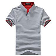 สำหรับผู้ชาย เสื้อเชิร์ต พื้นฐาน ลายต่อ คอแสตนด์ ลายบล็อคสี สีดำ XXL / แขนสั้น / ฤดูร้อน