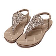 baratos Sapatos Femininos-Mulheres Sapatos Couro Ecológico Primavera / Verão Conforto / Inovador Sandálias Sem Salto Ponteira Pedrarias Preto / Amêndoa
