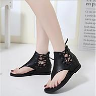 baratos Sapatos Femininos-Mulheres Sapatos Pele Nobuck / Couro Ecológico Verão Conforto Sandálias Sem Salto Preto / Marron / Com Laço