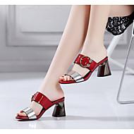 cheap Women's Sandals-Women's PU(Polyurethane) Spring / Summer Gladiator Sandals Chunky Heel Square Toe Rhinestone Red / Green / Blue