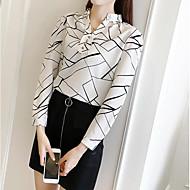 V-hals Løstsiddende Dame - Geometrisk Trykt mønster Gade I-byen-tøj Skjorte