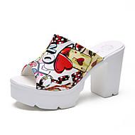 baratos Sapatos Femininos-Mulheres Sapatos Couro Ecológico Verão Chanel Sandálias Caminhada Plataforma Dedo Aberto Branco / Preto / Slogan