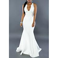 Women's Party Maxi Slim Bodycon Dress - Solid Colored V Neck Summer White Black M L XL / Sexy