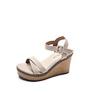 baratos Sapatos Femininos-Mulheres Sapatos Couro Ecológico Verão Conforto Sandálias Salto Plataforma Preto / Bege / Verde Tropa / Calcanhares
