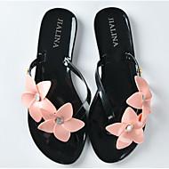 cheap -Women's Shoes Tulle / PVC(Polyvinyl chloride) Summer Comfort Slippers & Flip-Flops Flat Heel White / Black / Pink