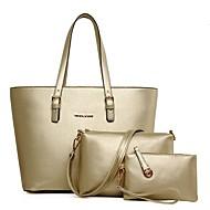 お買い得  バッグセット-女性用 バッグ PU バッグセット 3個の財布セット ジッパー ブラック / ルビーレッド / フクシャ