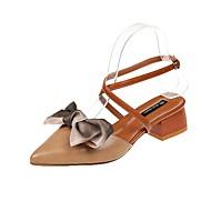 baratos Sapatos Femininos-Mulheres Sapatos Couro Ecológico Verão Conforto / Chanel Sandálias Caminhada Salto Baixo Dedo Apontado Bege / Amêndoa