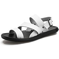 olcso -Férfi cipő Bőr Nyár Kényelmes Szandálok Fehér / Fekete